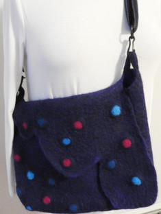 Blue with bobbles messenger bag
