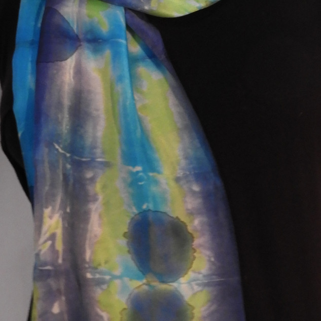 Shibori dyed navy, lime and Turquoise