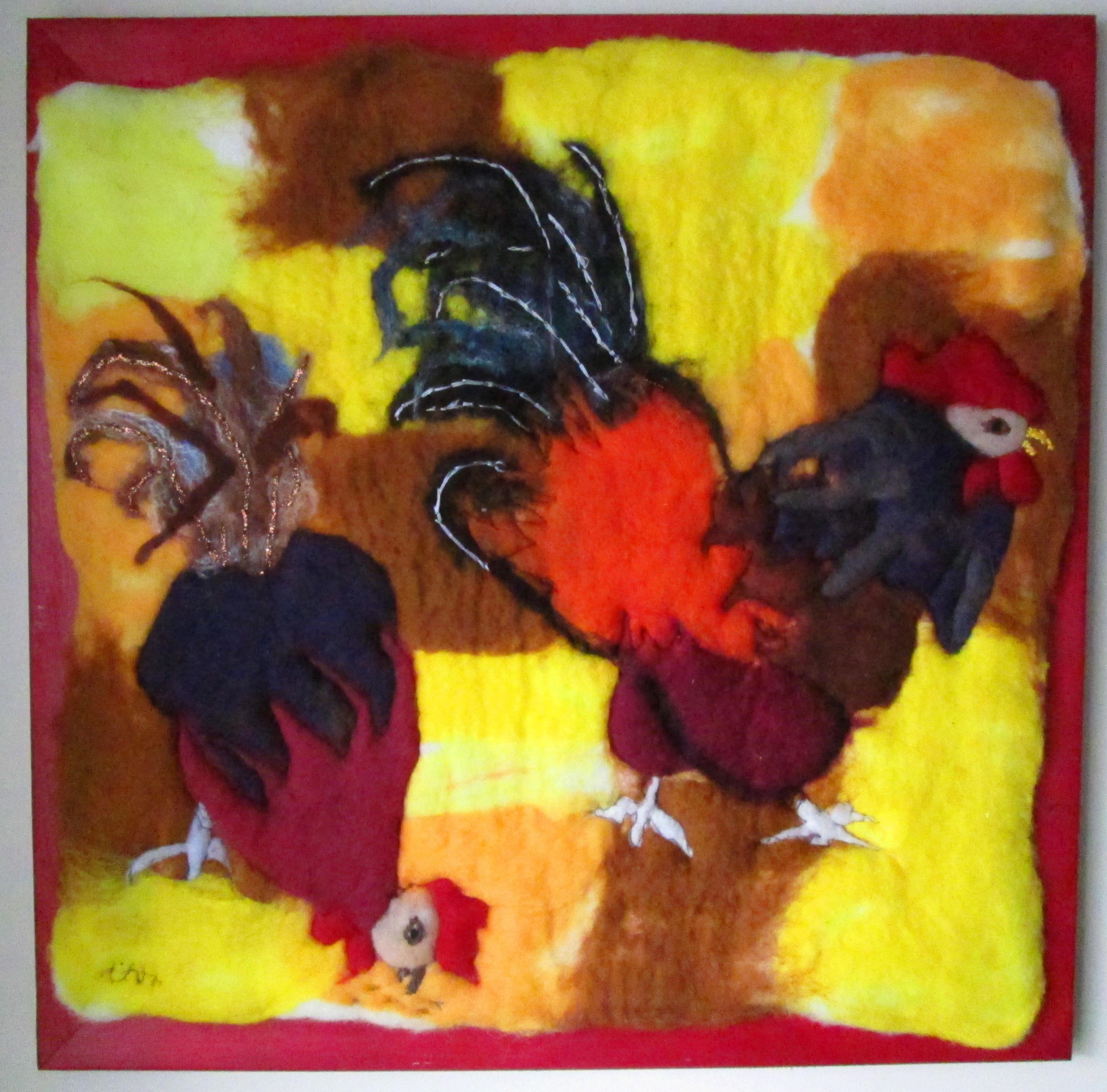 Hen Pecked 20 X 20 framed