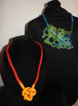 Seaweed and knotwork felted  necklaces.j
