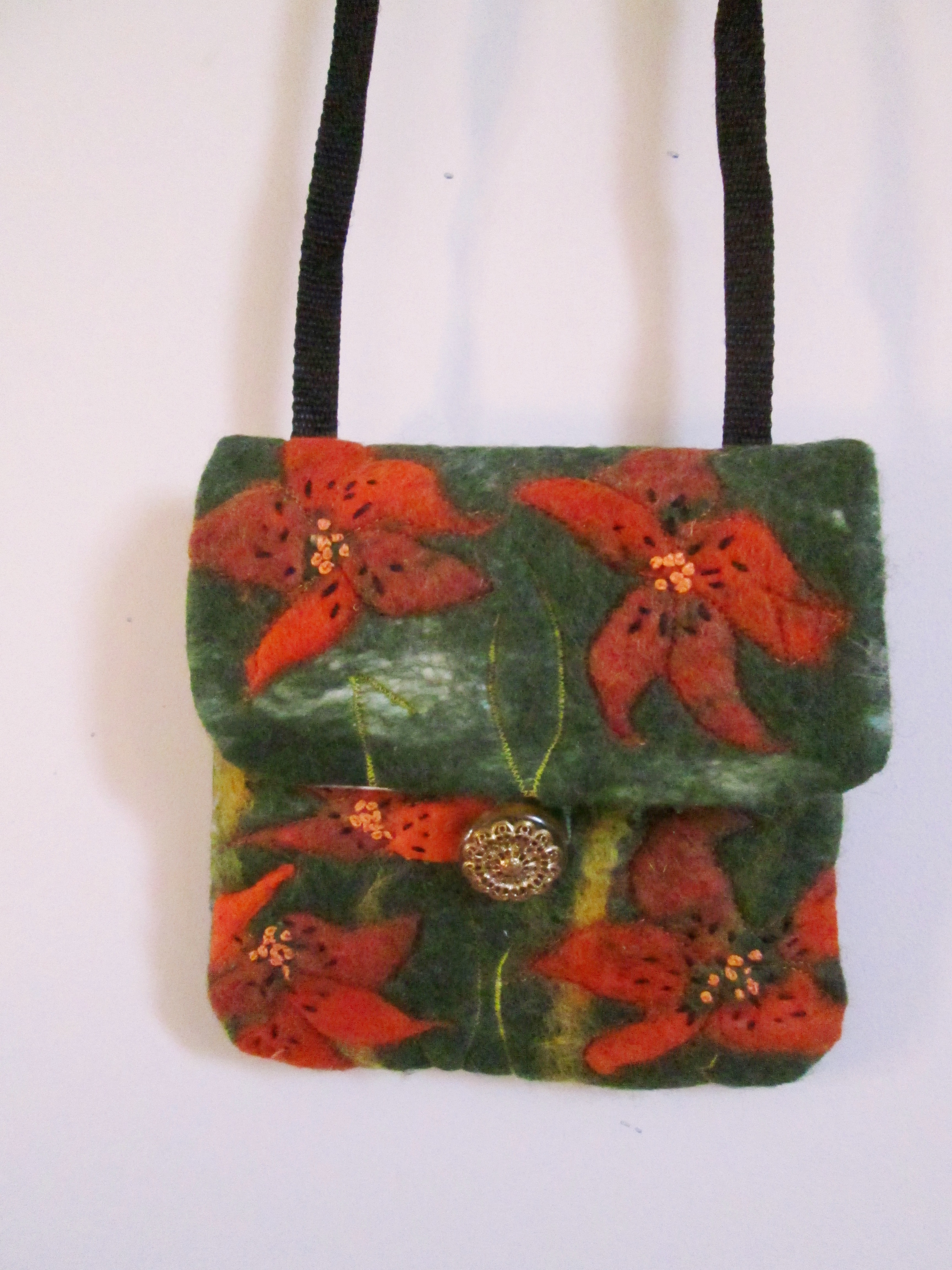 Tiger lily green purse