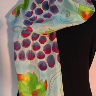 Hand painted grapes and vines