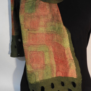 Hand painted nuno felted rust rectangles