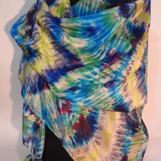 Shibori dyed silk shawl purple, turquois