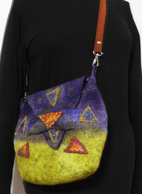 lime and purple shoulder bag