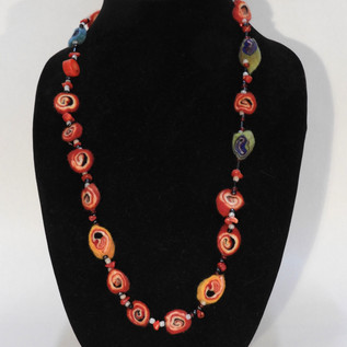 Felted candy and coral necklace