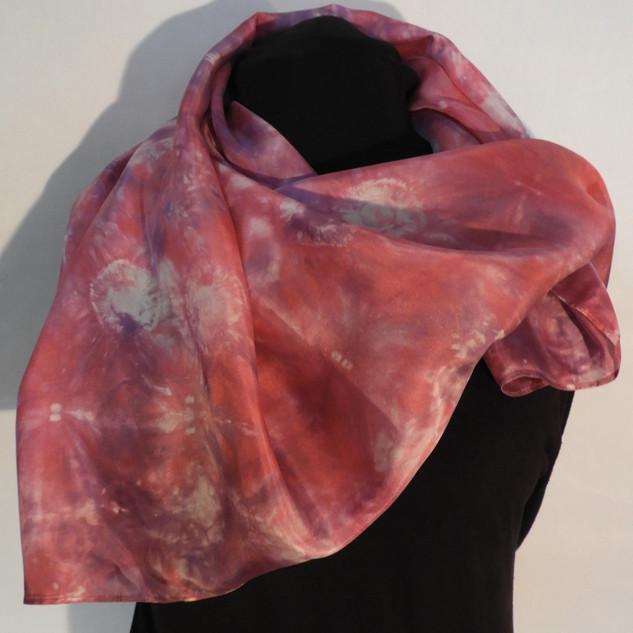 Shibori dyed magenta and rose