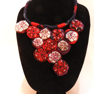 red and white medallions necklace