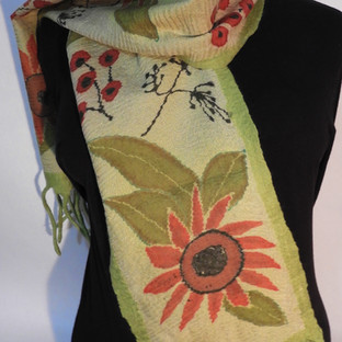 Hand painted nuno felted sunflowers on l