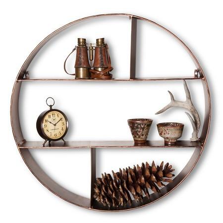 round metal shelving unit