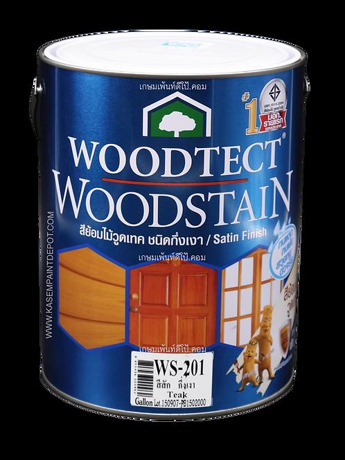 สีย้อมไม้วู้ดเทค กึ่งเงา Woodtec WS201 สีสัก ขนาดแกลลอน 3.785 ลิตร