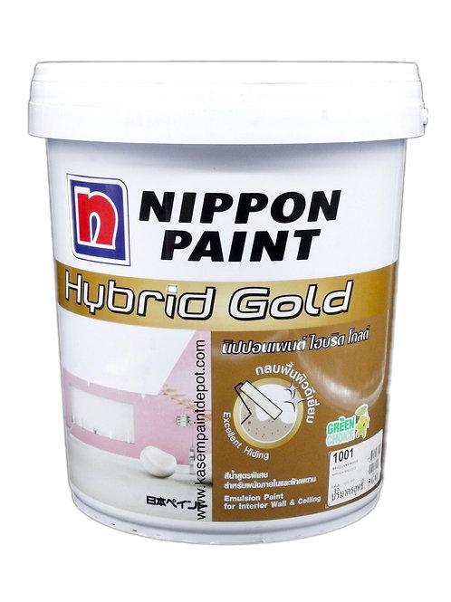 สีทาภายในและฝ้า นิปปอนไฮบริดโกลด์ Nippon Hybrid Gold สีขาว 1001 ถังใหญ่18.925ลิต