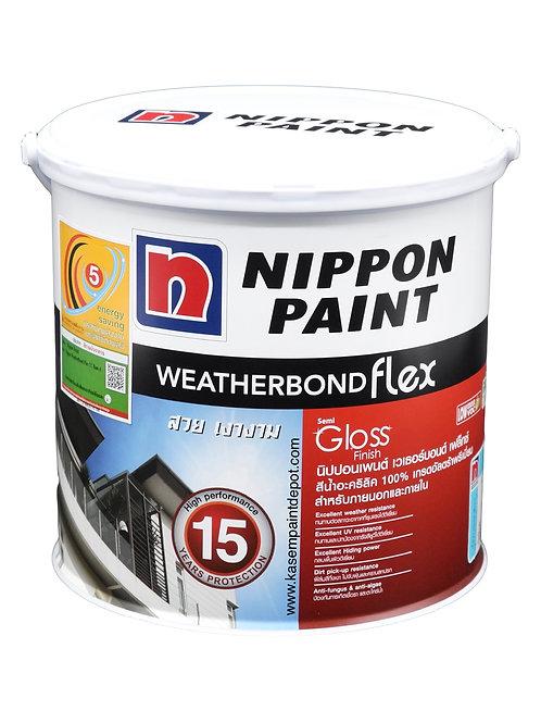 สีนิปปอน เวเธอร์บอนด์ นอกกึ่งเงา Nippon Weatherbond Flex Base A แกลลอน 3.785ลิตร
