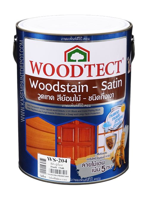 สีย้อมไม้วู้ดเทค กึ่งเงา Woodtec WS204 สีไม้ประดู่ ขนาดแกลลอน 3.785 ลิตร