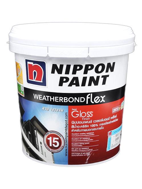 สีนิปปอน เวเธอร์บอนด์ นอก กึ่งเงา Nippon Weatherbond Flex Base A ถัง 9.46 ลิตร