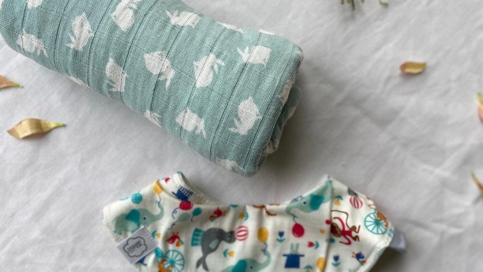 Organic Baby Bib and Swaddling Set
