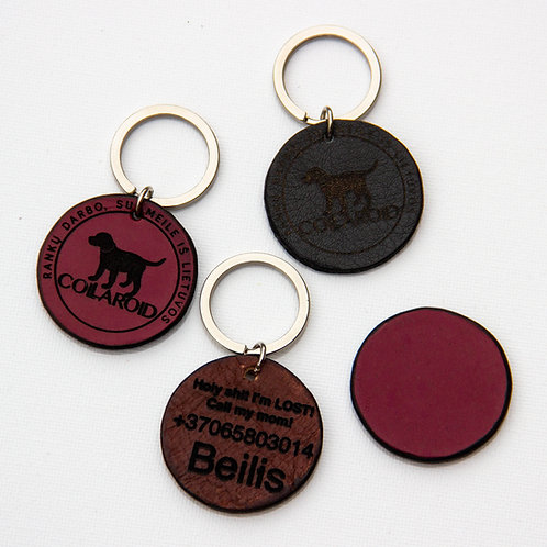 Personalized hand made leather dog tag