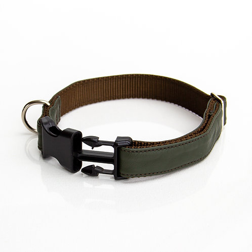 Army green eco leather Collar