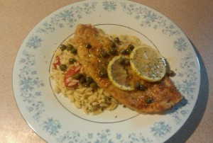 Flounder or Chicken Picatta with Orzo and Grape Tomatoes and Capers