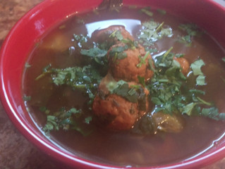 Turkey Meatball with Chayote and Spinach/Kale Soup