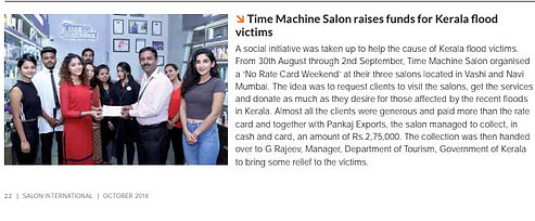 Time Machine Salon & Academy raises fund for Kerala Flood victims
