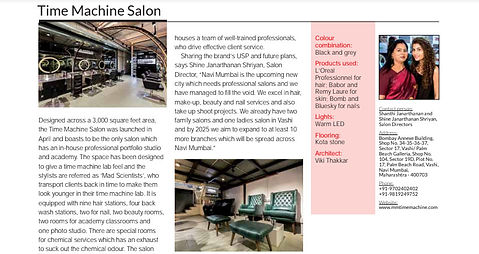 Architectural Setup Of Time Machine Salon