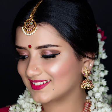 Time Machine Academy south indian bridal makeup student's work