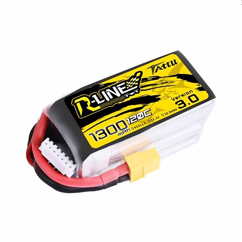 Tattu R-Line Version 3.0 1300mAh 22.2V 120C 6S1P Lipo Battery Pack with XT60 Plu