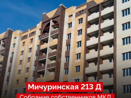 Собрание собственников МКД, Мичуринская 213 Д