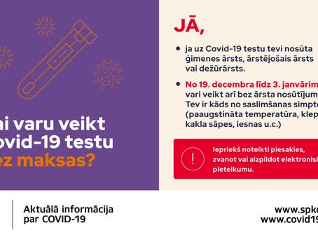 19.decembrī - 3.janvārim Covid-19 testu varēs veikt bez maksas