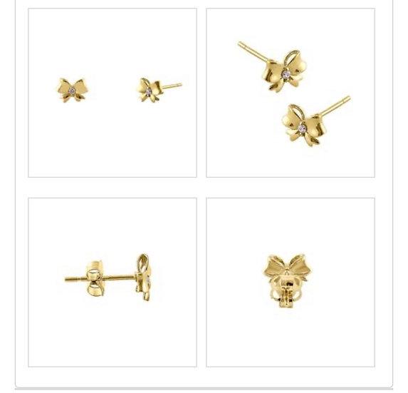 14k Gold Diamond Bow Earrings