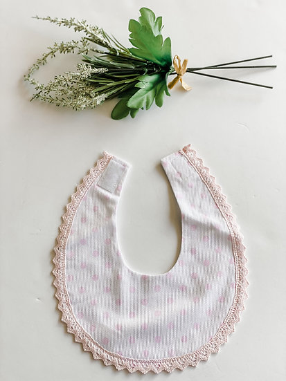 Pink and White Dotted Bib