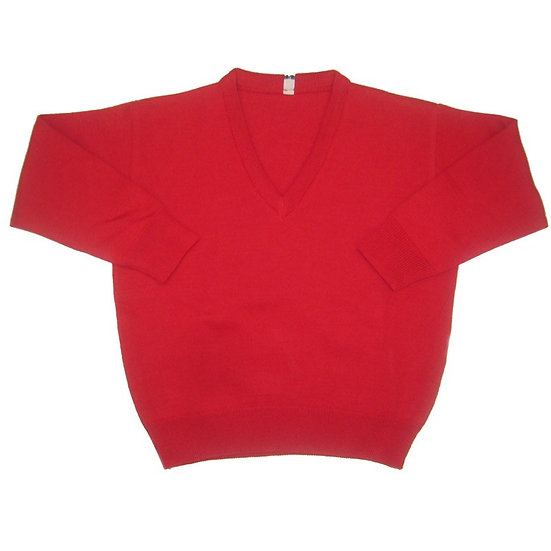 Red V-Neck Knitted Sweater