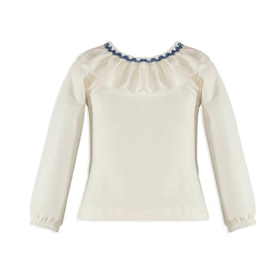Girls Ruffle-Rickrack Collar Shirt