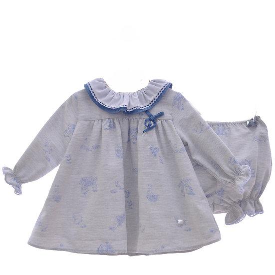 Grey and Blue Animal Print Dress