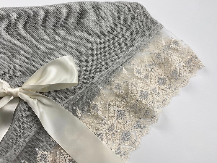 Silver Threaded Lace Blanket