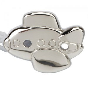 Airplane Silver Pacifier Holder