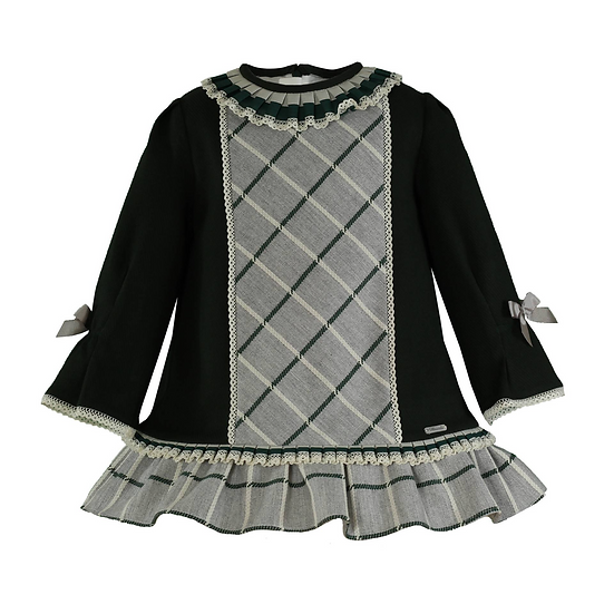 Green & Grey Wool Dress