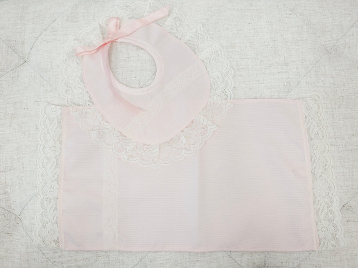Pink Bib and Burp cloth set