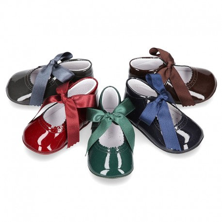 Patent Leather Tie Baby Shoes