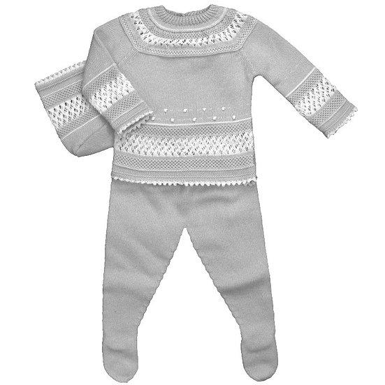 Baby Grey & White Knitted Ensemble