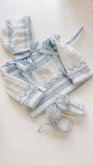 Handmade blue and white cardigan set