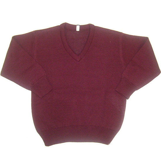 Burgundy V-Neck Knitted Sweater