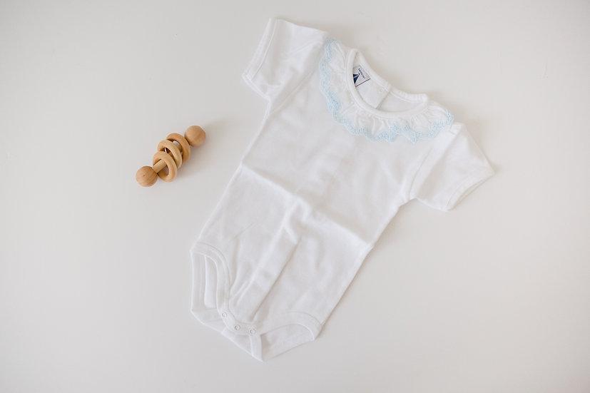 Simple Ruffles Blue Short Sleeve