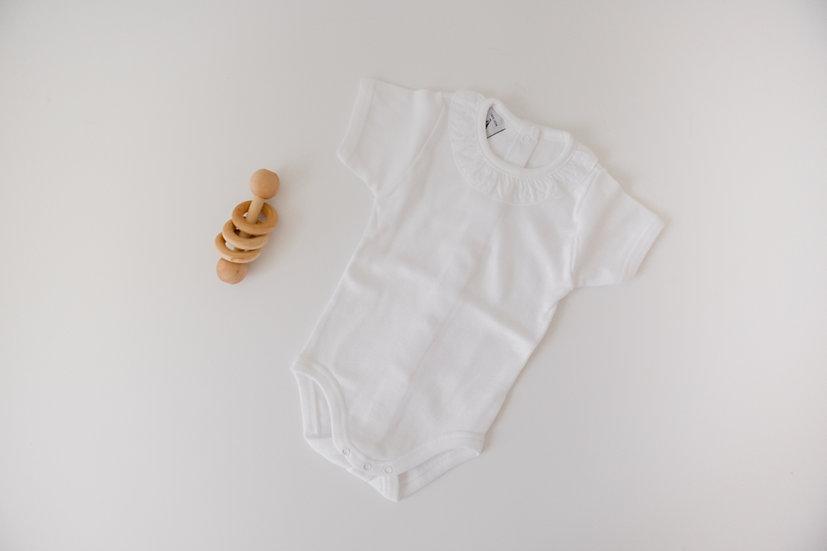 Simple Ruffles White Short Sleeve