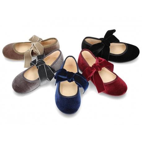 Velvet Tie Mary Jane Shoes
