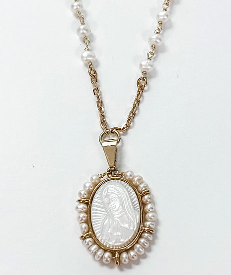 Our Lady of Guadalupe Mother of Pearl Necklace