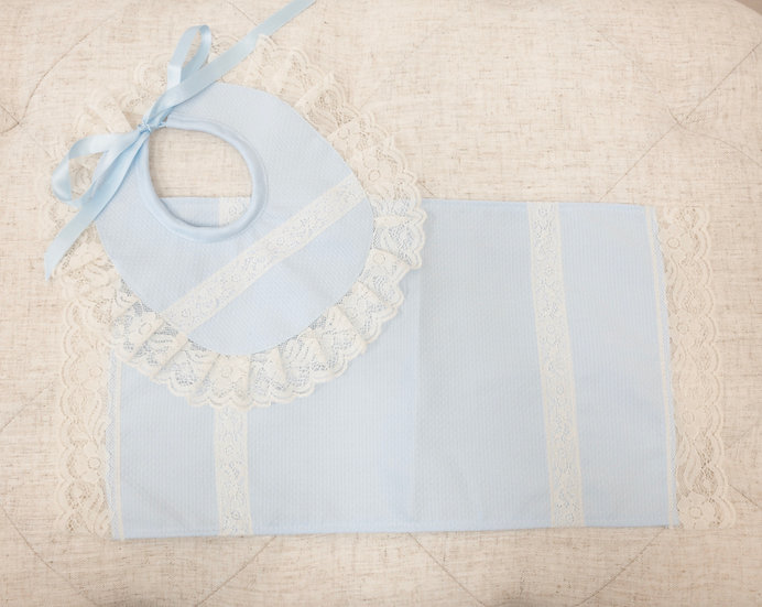 Blue Pique and Lace Bib and Burp Cloth set