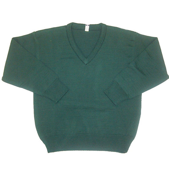 Green V-Neck Knitted Sweater