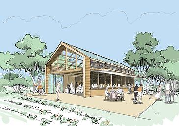 Croquis de présentation un projet de hall écologique à Chatenay-Malabry pour l'agence A26-BLM